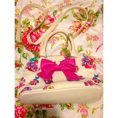 Betsey johnson floral crossbody Pink stain swe pic good condition Betsey Johnson Bags Crossbody Bags