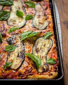 Sicilian Pizza with Eggplant - a classic Sicilian-style pan pizza with seared eggplant, red onions, and basil