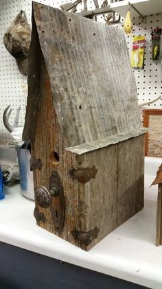 trunk corners barn wood bird house