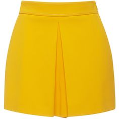 Emilio Pucci     High Waist Box Pleated Shorts ($930) ❤ liked on Polyvore featuring shorts, yellow, yellow shorts, pleated shorts, high waisted shorts, highwaist shorts and high-rise shorts