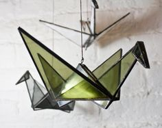 Stained Glass Origami Crane Olive by BespokeGlassTile on Etsy