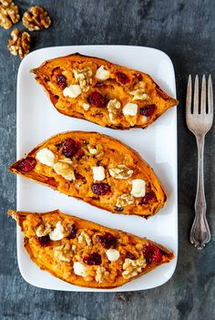 Brie, cranberry-walnut stuffed sweet potatoes. Dinner for two @dessertfor