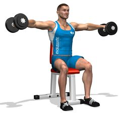 The exercise involves all muscles of the shoulders, getting the stadard roundness to the muscle. The exercise is fit for developing the muscle mass.
