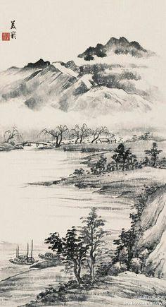 【宋美龄《云山初霁》】上个世纪的50年代,宋美龄迷上了中国画,拜国画大师黄君壁、张大千等为师,画兰、画竹、画山水,几达废寝忘食的境界。这位政治舞台上风云一时的传奇女性,在绘画方面也是颇具修养的。 Asian Landscape, Chinese Landscape Painting, Japanese Landscape, Green Landscape, Japanese Painting, Mountain Landscape, Landscape Art, Landscape Paintings, Art Asiatique