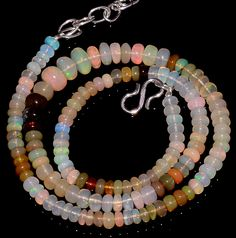"60CRTS 4.5to7MM 18"" ETHIOPIAN OPAL RONDELLE BEAUTIFUL BEADS NECKLACE OBI3050 #OPALBEADSINDIA"