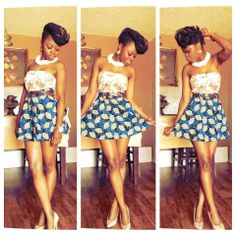 Tube Top  Flowy skater style african skirt.. Fab!