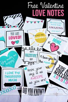 free printable Valentine love notes.