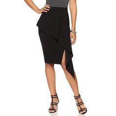 NENE by NeNe Leakes Draped Peplum Skirt - Black