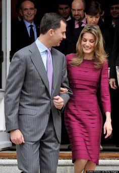 Queen Letizia wearing the tucked Felipe Varela dress again