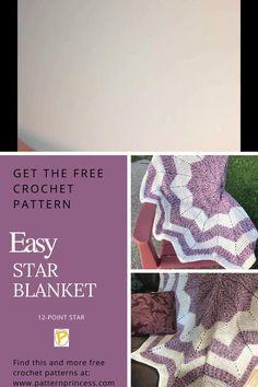 Crochet Star Blanket, Crochet Star Patterns, Star Baby Blanket, Crochet Baby Blanket Free Pattern, Crochet Round, Easy Crochet, Free Crochet, Yarn Projects, Crochet Projects