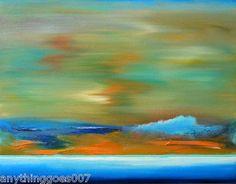 SEASCAPE Art ORIGINAL OIL MODERN OCEAN PAINTING turquoise beach wave blue orange on eBay!