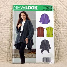 Description: Misses' Jacket with Length Variations & Vest Misses' Jacket with shawl collar can be made with sharkbite high low hem and has patch pockets at the hip. Vest can be made with or without patch pockets. New Look sewing pattern. Clothing Patterns, Dress Patterns, Sewing Patterns, Burda Patterns, New Look Patterns, Simplicity Patterns, Make Your Own Clothes, Jacket Pattern, Sewing Clothes