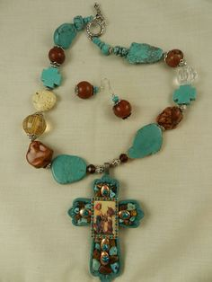 Turquoise Necklace Western Cowgirl Cross