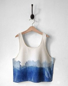 Crop Top. Blue. White. Horizon. Raw Silk. Handmade. Modern. Tie Dye Design. Dip-Dye Blue. Ombre. Natural dye. Tank Top. Indigo. Ocean. Azul.