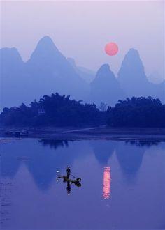 LOVELY sunset by Michael Sheridan LI RIVER - GUANGXI PROVINCE, CHINA (PL14) #photo #photography