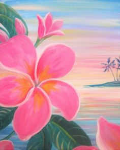 Learn to Paint Pretty in Pink Plumeria tonight at Paint Nite! Our artists know exactly how to teach painters of all levels - give it a try!