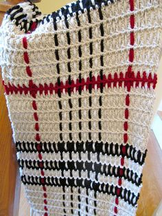 """IMG_0273, via Flickr.- Crochet and woven """"Burberry"""" wrap. (Link to free pattern is provided in my description on flickr.) I modified pattern for a wrap instead of a baby blanket.  I used Red Heart Super Saver yarn. If I made it again, I would use a softer yarn."""