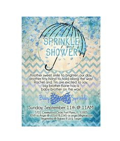 This listing is for a custom 5 x 7 DIGITAL high quality Sprinkle Shower for a baby boy. THIS IS A DIGITAL FILE THAT WILL BE SENT TO YOU TO PRINT. THIS LISTING IS FOR THE INVITATION ONLY (FIRST PHOTO)!! The other photos are pictures of the other items available in this same design. Other items available in this matching design are Thank You Card, Book Request Card/Insert, Diaper Raffle and various shower games. They can be purchased through the links below. The digital file will be sent to…