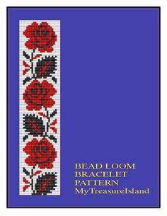 Bead Loom Red Roses Border Floral Border Bracelet Pattern PDF