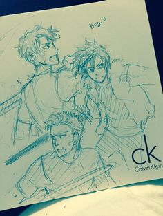 """mormoc: """"Big 3 boys in the battle. Today I'm in my mom's house. I have only a paper (strange calvin klein logo) and a pencil (which is not pointed). And no eraser! """""""