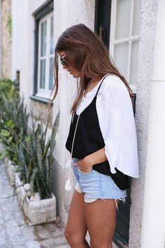 Top: seams for a desire blogger tank long sleeves white denim shorts cami