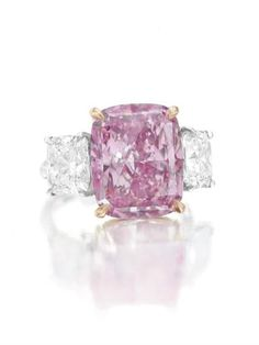 10 carat fancy vivid purple-pink diamond ring-christies~I would accept this as an engagement ring. Pink Jewelry, I Love Jewelry, Diamond Jewelry, Jewlery, Pink Diamond Ring, Cushion Cut Diamond Ring, Bling Bling, Colored Diamonds, Pink Diamonds