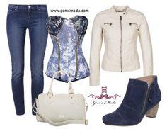 Outfit con corsé vaquero, jeans, chaqueta y complementos a juego.