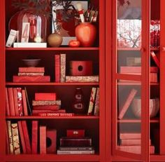 Red Rosso Rouge Rojo Rød 赤 Vermelho Color Colour Texture Form Pattern Feng Shui, Red Bookcase, Bookcases, Painted Bookshelves, Tree Bookshelf, Tree Shelf, Bookshelf Ideas, Bookshelf Styling, Bookshelf Design