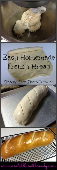 Easy French Bread with Step by step photo tutorial. Bread … Easy French Bread with step by step photo tutorial. Bread made from scratch Kitchen Aid Recipes, Cooking Recipes, Kitchen Aide, Cooking Bacon, Skillet Recipes, Cooking Games, Cooking Tools, Kitchen Tools, Kitchen Gadgets