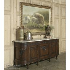 Country French Antique Furniture | Antique Buffets, Antique Sideboards | Country French Regence Marble Top Buffet | www.inessa.com