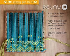 Relmu bulky yarn multiple pin loom weaving board, includes 10 sizes in one surface, weave as Zoom Loom or weave it Weaving Loom Diy, Pin Weaving, Loom Craft, Weaving Art, Weaving Patterns, Tapestry Weaving, Party Set, Weaving Wall Hanging, Peg Loom