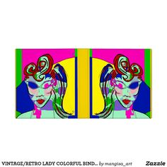 VINTAGE/RETRO LADY COLORFUL BINDER ART