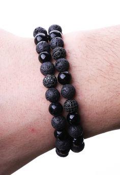 Siyah, 3' lü Zirkon Motifli Erkek Doğal Taş Bileklik BLK1155 - Men Bracelet