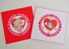 Set Of Two Retro Inspired Valentine's Notelets by picocrafts