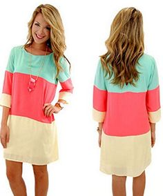 pretty, stylish, Women Lady Round Neck Chiffon Dress. Mint and coral are such a pretty combo! Would also look great as a modest look with some leggings.