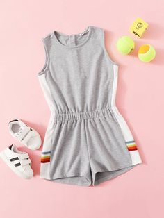 To find out about the Girls Half Button Placket Striped Side Elastic Waist Romper at SHEIN, part of our latest Girls Jumpsuits ready to shop online today! Cute Comfy Outfits, Cute Girl Outfits, Kids Outfits Girls, Summer Outfits, Girls Fashion Clothes, Teen Fashion Outfits, Girl Fashion, Edgy Outfits, Jumpsuits For Girls