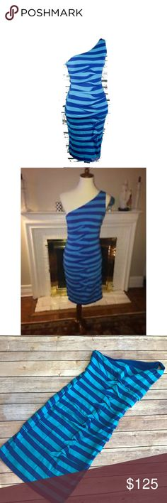 """Artelier Nicole Miller Blue Striped Ruched Dress S Artelier Nicole Miller Blue Striped Ruched Dress S NEW NWT One Shoulder   Awesome fitted bodycon dress from Artelier by Nicole Miller. New with $245 retail tag from Heery's in Athens, GA. 35"""" long 14.75"""" p to p 92% rayon/8% spandex Lining (in bra area) 79% nylon, 21% spandex Hand wash/flat dry. Nicole Miller Dresses One Shoulder"""