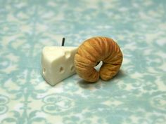 Miniature Food Jewelry Swiss Cheese and Croissant by kawaiibuddies, $20.00