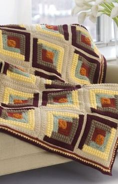 Autumn Log Cabin Throw Crochet Pattern - download printable instructions