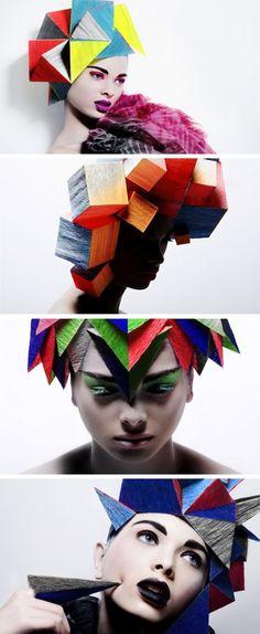 Geometric Hair by Billy Kidd photographer-billy-kidd. Fascinator, Headpiece, Cubism Fashion, Billy Kidd, Avant Garde Hair, Body Adornment, Fantasy Hair, Hair Shows, Creative Hairstyles
