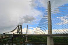 The new Penobscot Narrows Bridge with the old Waldo-Hancock Bridge on the left near Bucksport Maine  #infrastructure #penobscot #narrows #bridge #waldo-hancock #left #near #bucksport #maine #photography
