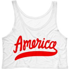 Classic America Script Crop Tank Top 4th of July Tank Country Music... ($15) ❤ liked on Polyvore featuring tops, crop top, tanks, white, women's clothing, america tank, neon pink shirt, cropped tops, white crop top and white tank