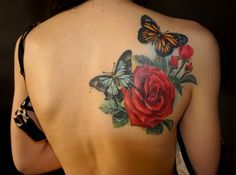heart, roses, and lilies t s ttoo | Rose Tattoo – black and grey