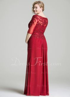 A-Line/Princess Scoop Neck Floor-Length Ruffle Beading Zipper Up Sleeves 1/2 Sleeves No Burgundy Plus Chiffon Lace Mother of the Bride Dress