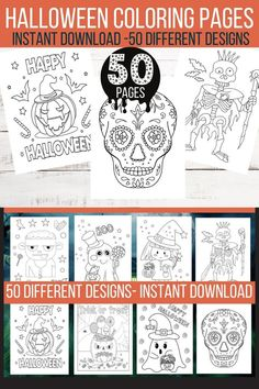 50 Spooky Halloween Coloring Pages, Printable Halloween Coloring For Kids. Halloween Party- Halloween Activity, INSTANT DOWNLOAD 50 Non horror Halloween coloring pages for kids. Instant download printable Halloween sheet pdf for kids of all ages with bat, witch, pumpkin, ghosts skeletons, owl and cat designs. Perfect for a Halloween party or spooky Halloween activity