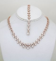 Rose Gold Backdrop necklace Bridal Back drop by treasures570