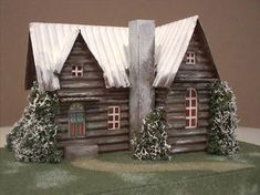 New cardboard Christmas house for sale. Ideas for Putz Houses. Miniature Christmas, Rustic Christmas, Christmas Home, Christmas Glitter, Christmas Mantles, Xmas, Victorian Christmas, White Christmas, Vintage Christmas