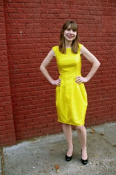 Ginger's bright dress made from Mood's silk. #moodfabrics