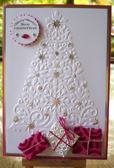Embossing folder and stars!/Here is another possibility for my tree folder.