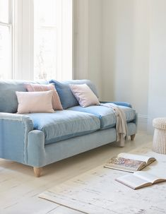 Loaf S Comfy Pavlova Sofa Upholstered In A Light Blue Velvet With Pastel Pink Ters This
